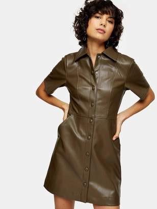 Topshop PU Shirt Dress - Khaki