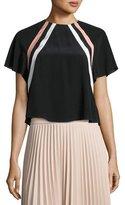 RED Valentino Raglan-Sleeve Striped Silk Crop Top, Nero/Cipria/Panna
