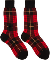 Alexander McQueen Red Plaid Socks