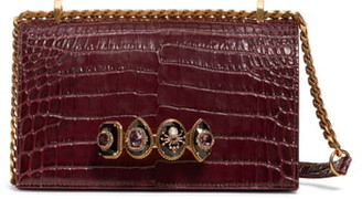 Alexander McQueen Croc-Embossed Knuckle Leather Shoulder Bag