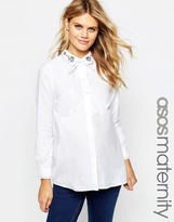 Asos Embroidered Casual Pussy Bow Shirt