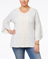 Style&Co. Style & Co. Plus Size Lace Tulip-Sleeve Top, Only at Macy's