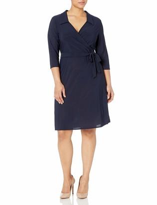 Star Vixen Women's Plus Size Str Ponte Classic Fauxwrap Dress W Collar