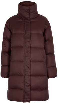 Eileen Fisher Burgundy quilted shell coat
