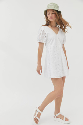 Urban Outfitters Josie Embroidered Eyelet Mini Dress