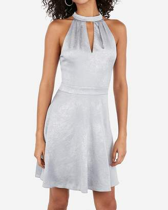 Express Metallic Halter Keyhole Cut-Out Fit And Flare Dress
