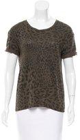 Sandro Linen Leopard Print T-Shirt