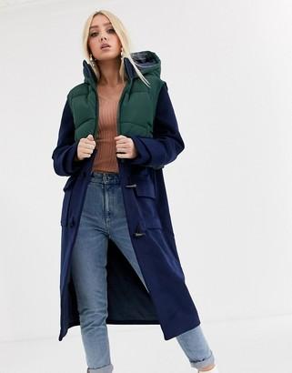 Asos Design DESIGN longline duffle coat with gilet overlay in navy-Blue