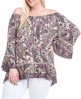 Fever Plus Size Printed Smock-Neck Top