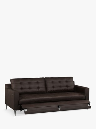 John Lewis & Partners Draper Motion Large 3 Seater Leather Sofa with Footrest Mechanism, Metal Leg