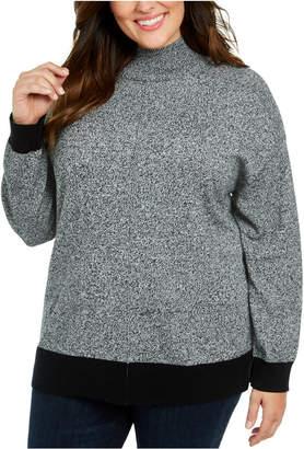 Karen Scott Plus Size Mock Neck Cotton Sweater
