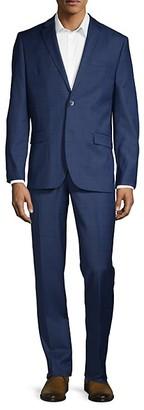 Ben Sherman 2-Piece Slim Fit Windowpane Check Stretch Wool-Blend Suit