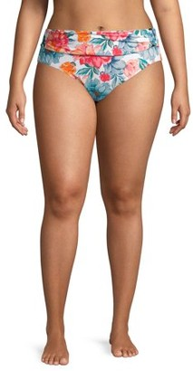Time and Tru Women's Plus Size Kabash Floral Swimsuit Bottom