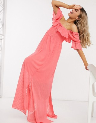 Glamorous off shoulder frill dress in coral