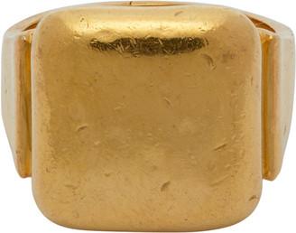 Bottega Veneta Gold Square Signet Ring