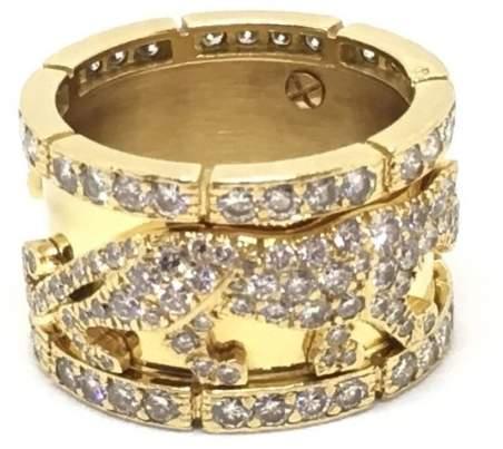 Cartier 18K Yellow Gold & Diamond Walking Panthere Ring Size 6.5