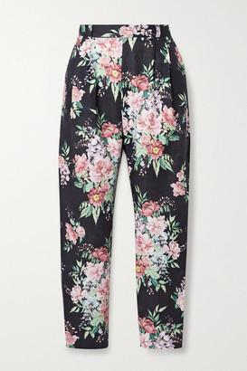 Zimmermann Bellitude Floral-print Linen Tapered Pants - Navy