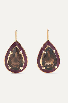 Alison Lou Cocktail 14-karat Gold Quartz And Enamel Earrings - Brown