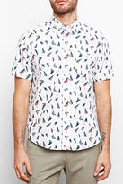 Tailor Vintage Printed Sailboat Short Sleeve Seersucker Button Down Shirt