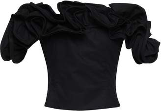Petersyn Miriam Off-the-shoulder Ruffled Cotton-canvas Top