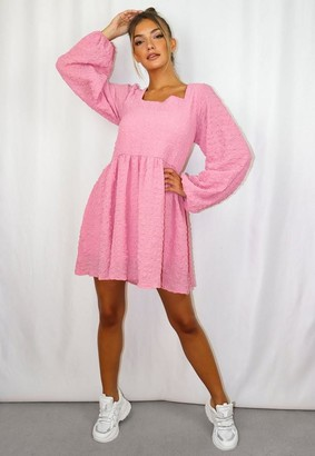 Missguided Shirred Textured Oversized Smock Dress