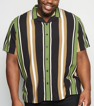 New Look Plus Size Vertical Stripe Short Sleeve Shirt