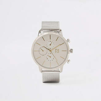 River Island Silver colour mesh strap round watch