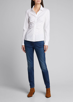 Lafayette 148 New York Kaylee Cotton Stretch Ruched Shirt