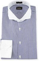 Neiman Marcus Classic-Fit Non-Iron Striped Dress Shirt, Blue/White