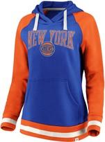 Women's Fanatics Branded Royal/Orange New York Knicks True Classic Vintage Retro Stripe Raglan Fleece Pullover Hoodie