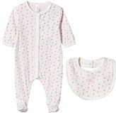 Petit Bateau Pack of Two Pink Ditsy Floral Babygrows and Bib Set