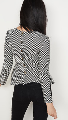 A.W.A.K.E. Mode Gingham Peplum Top