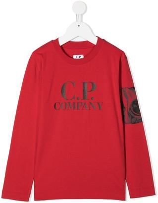 C.P. Company Kids Logo Print Long-Sleeved Top