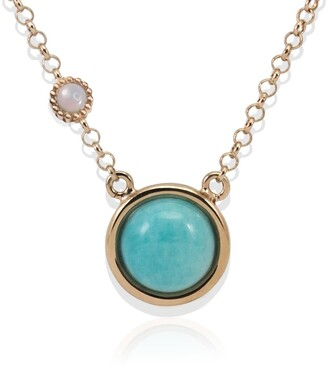 Vintouch Italy Satellite Rose Gold Vermeil Amazonite & Opal Necklace