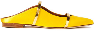 Malone Souliers Maureen Metallic-trimmed Satin Slippers