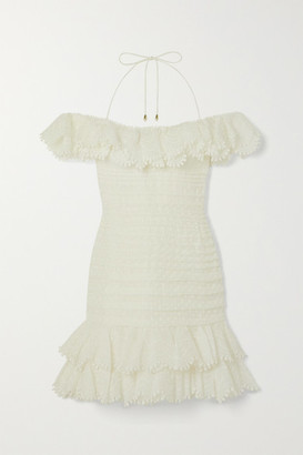 Zimmermann Super Eight Off-the-shoulder Ruffled Pleated Linen And Silk-blend Mini Dress - Ivory