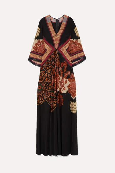 Etro Printed Silk Crepe De Chine Maxi Dress - Black
