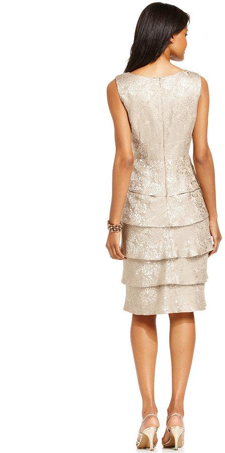 R & M Richards R&M Richards Tiered Embellished Dress and Jacket
