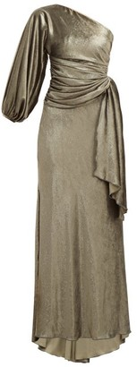 Maria Lucia Hohan Amaris Gathered One-shoulder Velvet Dress - Khaki