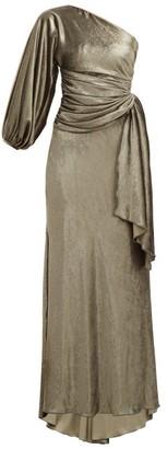 Maria Lucia Hohan Amaris Gathered One Shoulder Velvet Dress - Womens - Khaki