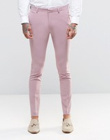 Asos Super Skinny Fit Suit Trousers In Pink