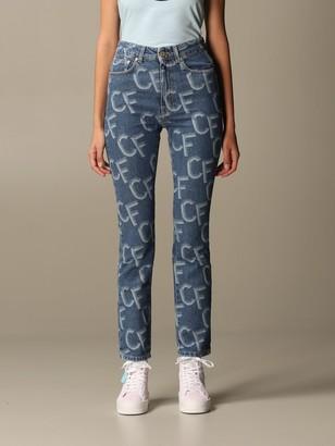 Chiara Ferragni Denim Jeans With All-over Cf Logo