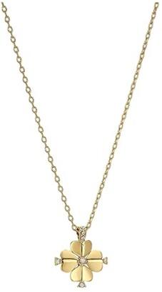 Kate Spade Legacy Logo Spade Flower Mini Pendant (Clear/Gold) Necklace