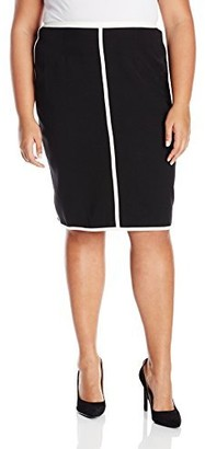 Kasper Women's Plus Size Stretch Crepe Contrast Piping Skirt