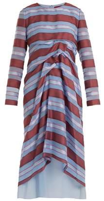 Sies Marjan Elodie Striped-jacquard Silk Dress - Womens - Blue Stripe