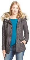 Laundry by Shelli Segal Women's Waxy Twill Quilted Jacket With Faux Fur