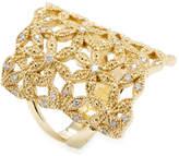 Mizuki Women's Diamond Woven Flower Shield Ring