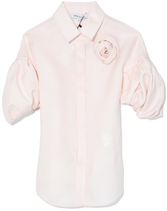 Dice Kayek Puff Sleeve Rosette Shirt in Pink