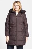 Ellen Tracy Plus Size Women's Genuine Fox Fur Trim Hooded Down Walking Coat