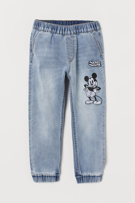 H&M Appliqued Denim Joggers - Blue